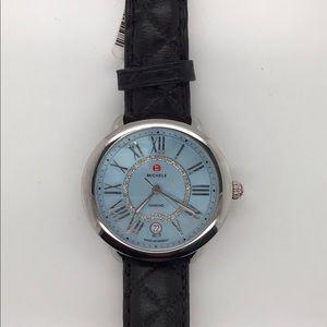 Michele Serein 36mm Blue Dial Watch 0.11Ct Diamond